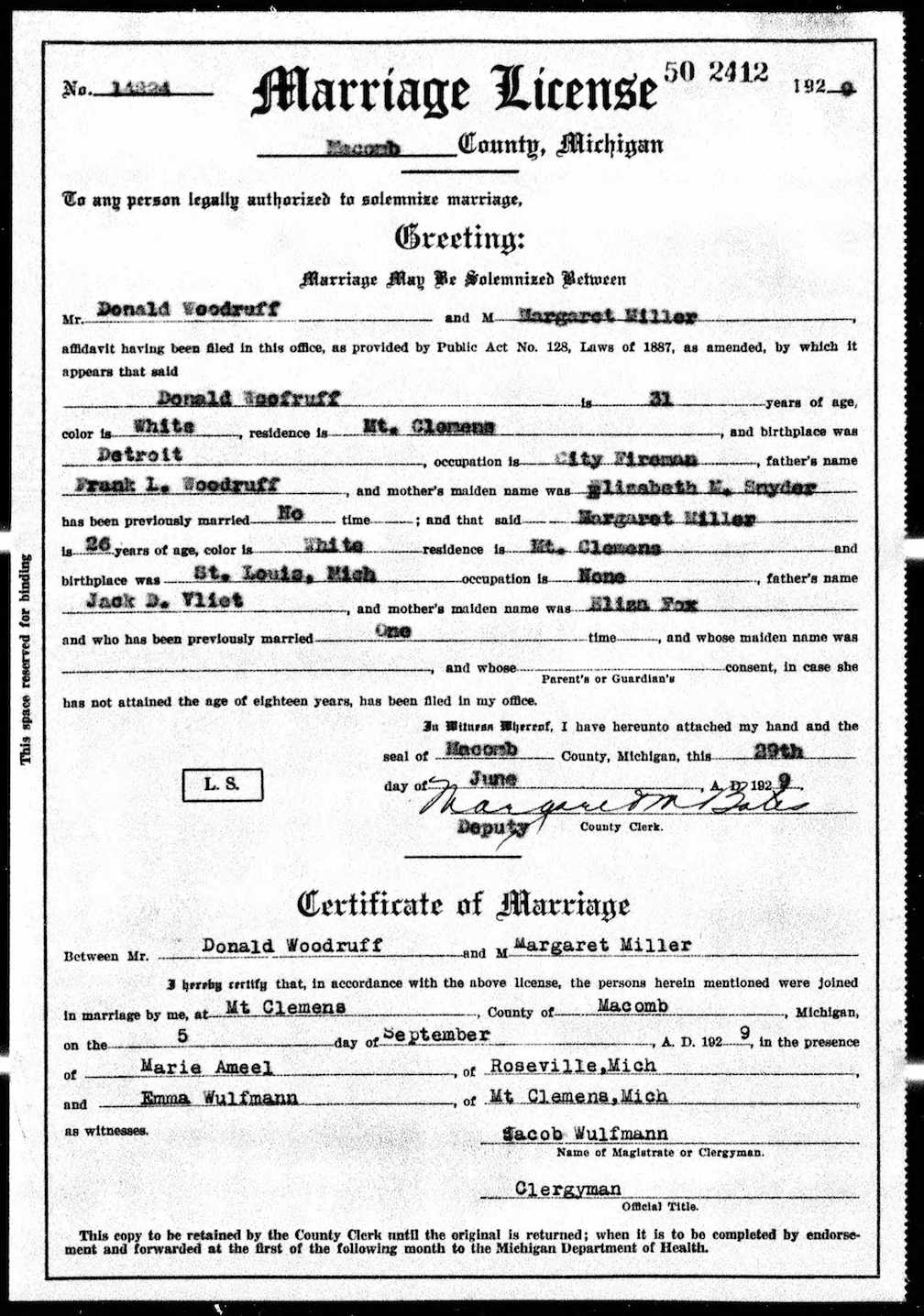 Sources 1929 marriage record woodruff miller mount clemens macomb co michigan file 1929mariagewoodruffmillermi aiddatafo Choice Image